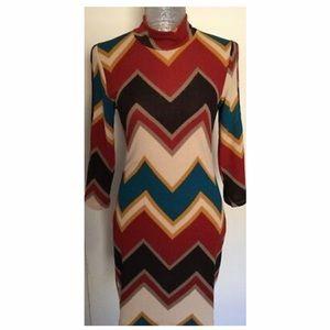 NEW Love Culture Chevron Cold Shoulder Dress